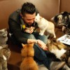 Adam & the cat kiss